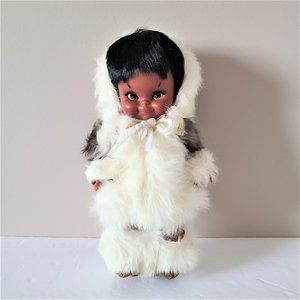Vintage Eskimo Native Doll w Real Fur and Leather.
